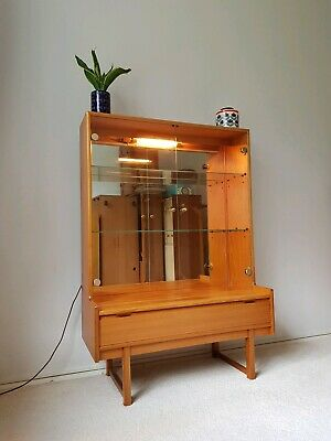 Superb Mid Century Teak Glass Mirrored Display Cabinet Sideboard Bookcase 60s