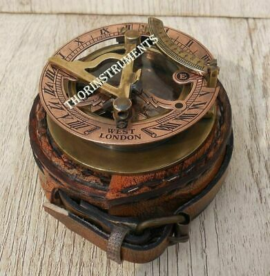 Brass Sundial Compass - Pocket Sundial -Brass Antiques West London