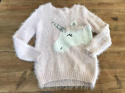 Pink Fluffy And Sequinned Girls Unicorn Jumper Age 6-7 Yrs