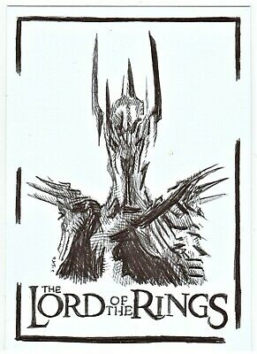 ACEO Art Sketch Card Evil Lord Sauron from Lord of the Rings Ink Drawing