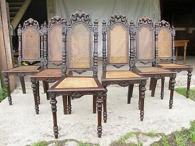 Set of 6 Victorian oak carved bergere dining chairs (ref 740)