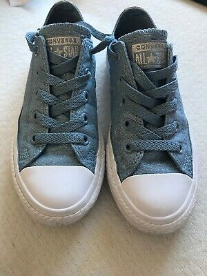 Girls Converse All Star shoes Blue/ Silver sparkle UK size 12