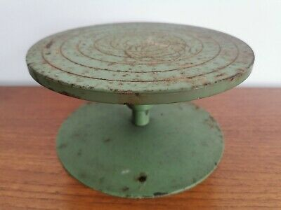 Vintage 1930's 40's Green Distressed Metal Pottery Wheel / Retro Display Stand