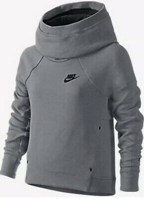 Girls Grey Nike Tech Fleece Funnel Neck Hoodie BNWT