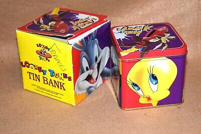 """Looney Tunes Tin Bank---With Removable Lid---4/"""" Tall---1996"""