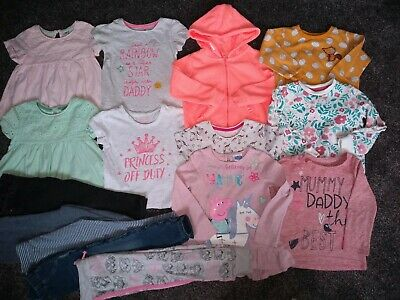 Girls bundle jacket,2 jumpers,7 tops &5 jeans/joggers Age 2-3 Years 15 ITEMS