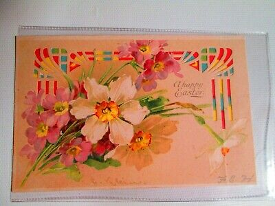 German Easter Hold To Light  Flowers & Colored Die Cuts Post Card
