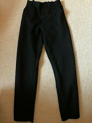 3 Pairs Boys Next Black School Trousers with Adjustable Waist - Age 15 Years