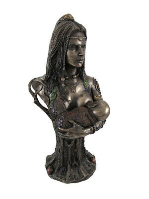 Bronze Breastfeeding Goddess Danu Mother Earth Bust Statue
