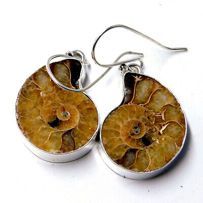 Pure Ammonite Fossil 925 Sterling Silver Plated Handmade Jewellery Earring 10 Gm