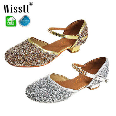Girls Kids Sequin Mary Jane Prom Wedding Party Bridesmaid Sandals Princess Shoes