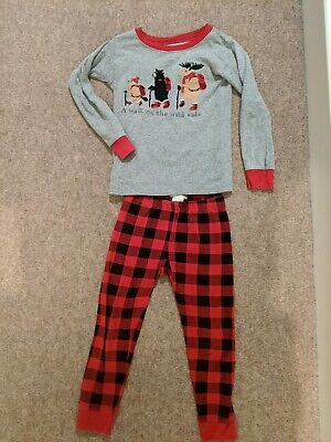 Boys/Girls 2 Piece Pjyama Set. Canada Moose, Tartan Red. 4 Years