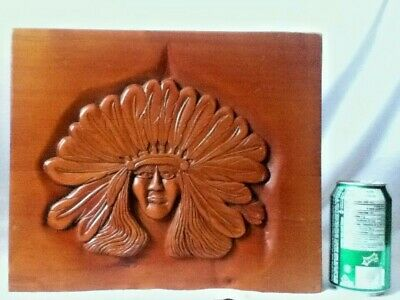 SIGNED Hand Carved Native American Indian Hanging Folk Art Woodblock Portrait
