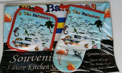 Souvenir The Bahamas Kitchen Set New Sealed-apron/pot holder/oven mitt