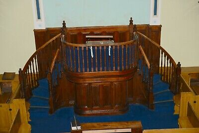 Church,Chapel Pulpit with two curved staircases made from pitch pine, circa 1862