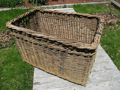 "Antique Wicker Laundry Basket, 33.5""L 23""W 21""H, Woven around Metal Bands Solid"
