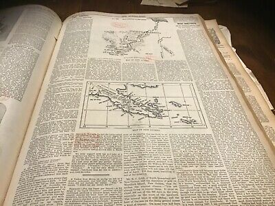Antique newspaper  page New Guinea map x 2 prospecting   1897