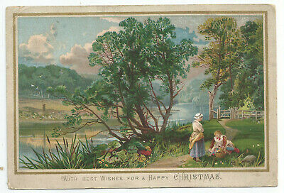 Large Rural Scene Xmas Card.  c1885. (9a)