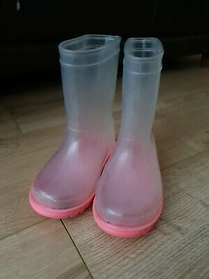 Size 5 Next Baby girl toddler Wellies- Translucent Clear With pink Soles shoes