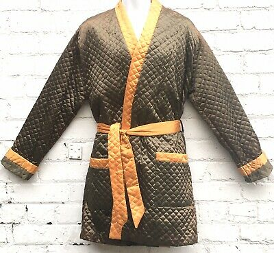 Vintage quilted smoking jacket dressing gown khaki olive green gold BNWT L