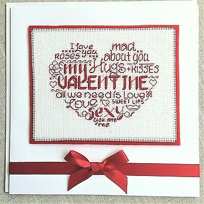 "Handcrafted Completed Cross Stitch Card Large 8 x 8"" Word Cloud Valentine's Day"