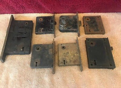 Vintage Lot Of 7 Mortise And Rim Locks