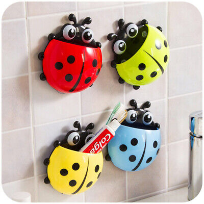Cute Ladybug Kids Toothbrush Toothpaste Holder Wall Mounted Suction Cup Holder