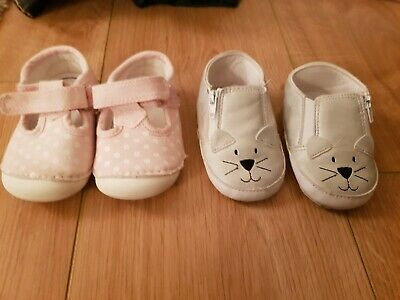 2 Pairs baby girl Mothercare Pumps Shoes 1 Pair Silver 1 Pair Pink Floral Size 2