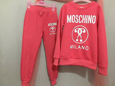 Girls Designer Moschino Pink Logo Tracksuit Outfit Jumper & Joggers 6yrs 💕