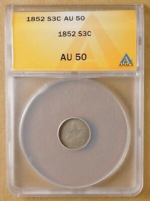 1852 Three Cent Silver ANACS AU 50