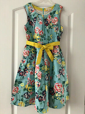 Mini Boden Girls 11-12y Blue Yellow Floral Vintage Dress EEUC Spring Easter