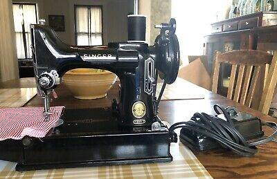1957 Singer Featherweight 221 Sewing Machine Only, No Case, Works Great