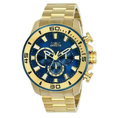 Invicta 22587 Men's Pro Diver Gold-Tone Chronograph Watch with Blue Dial