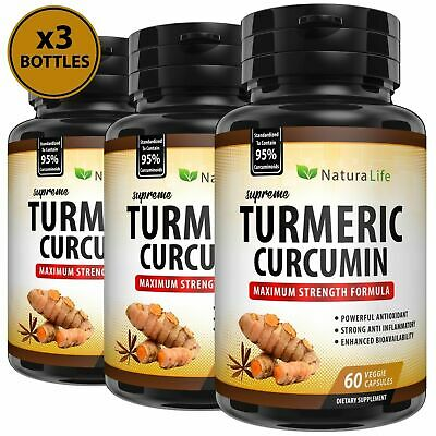 3 x BOTTLES TURMERIC CAPSULES TUMERIC (95% CURCUMIN EXTRACT EQUAL TO 10,000mg)
