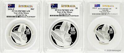 2020-P Australia Year of the Mouse Silver 3-Coin Set ($.50, $1, $2) PCGS PR70