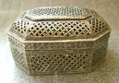 fine old Chinese sterling silver reticulated box