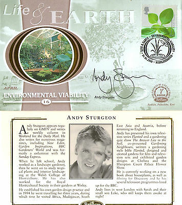 4 April 2000 Life And Earth Benham Small Silk Fdc Hand Signed By Andy Sturgeon