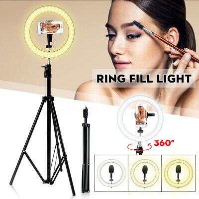 10'' Dimmable LED Ring Light Tripod Stand Makeup Selfie Video Photo for