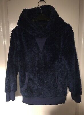 Next Boys Blue Soft Furry Hooded Jumper Pockets 8 Years New Without Tags