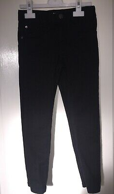 Boys Black Stretch Skinny Jeans H&M Adjustable Waist Zip Fly