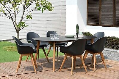 NEW Atticus Outdoor 6 Seater Dining Table And Chairs Set Black Patio Dining Set