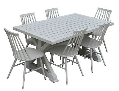 NEW Torquay 1.6M Aluminium Outdoor Table With 6 Windsor Dining Chairs   Patio