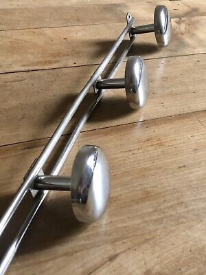 Vintage Coat Hooks Mid Century French Chrome Metal Silver