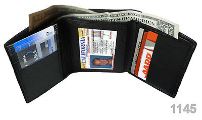 Black GENUINE LEATHER MEN'S TRIFOLD WALLET 7 SLOTS HOLDER CASE
