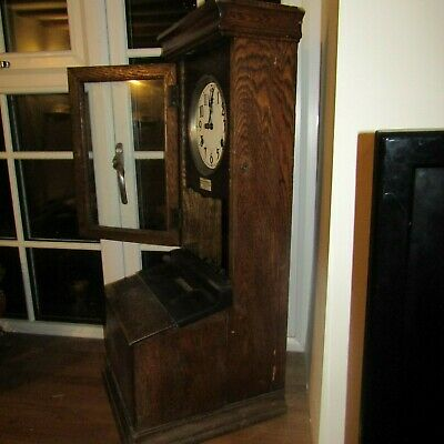 Antique clocking in machine industrial prop time recorder clock gwo key oak case