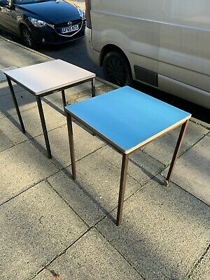 9 x Café/restaurant tables, pastel colours w/black or brown legs. Used