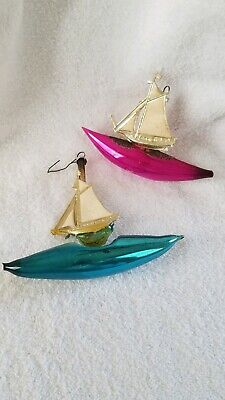 Antique Victorian Germany Wire Wrap Mercury Glass Sailing Boat Xmas Ornaments