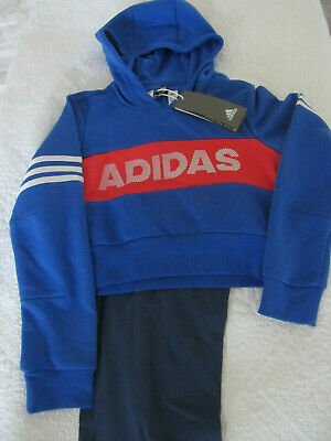 Girls Adidas Hooded Tracksuit Blue Red & White New 9/10 yrs.