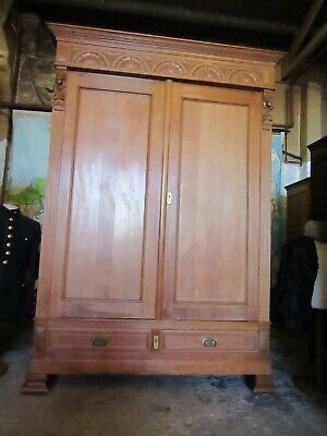 Antique French carved lions head light oak armoire,wardrobe,Flat packs C1900