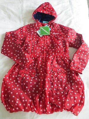 BNWT Girls Red White Spotted Light Weight Hooded Sammy Mac Jacket Coat Age 11-12